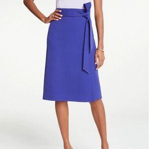Ann Taylor Tie Waist Wrap Skirt-Royal Azure-471494